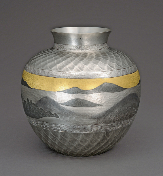 """image Silver flower vessel with ink painting style inlay. """"Waves of clouds"""""""
