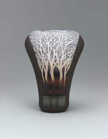 image Flower vase with tree design in inlay and colored glaze painting.