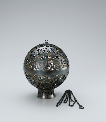 """image Spherical incense burner of black bronze with gold inlay. """"Two worlds"""""""