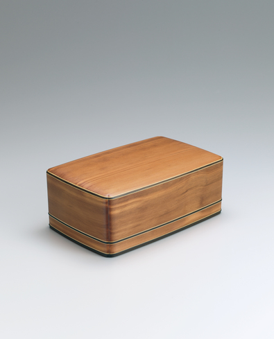 image Box of Japanese yew wood with notched corners.
