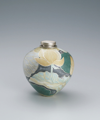 "写真:Jar with cloisonne using thick wires. ""Brilliance"""