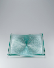 "写真:Laminated square glass dish with engraved decoration. ""Bluish green moon"""