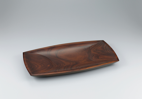 image Food vessel of zelkova wood finished in wiped urushi.