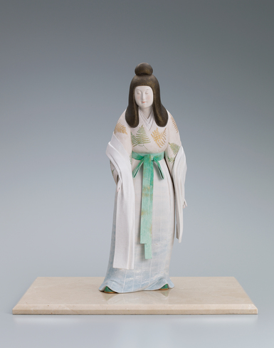 """image """"Mimosuso river (which runs through the precinct of the Ise shrine)"""". Ceramic sculpture with polychromy."""