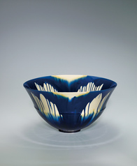 "写真:Indigo three-color glaze ware. ""1407"""