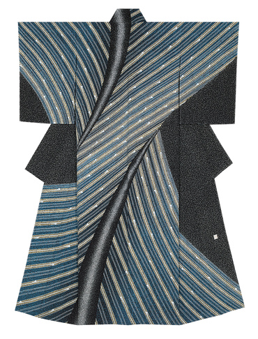 "image Formal kimono with design in yūzen dyeing. ""Inclined path"""