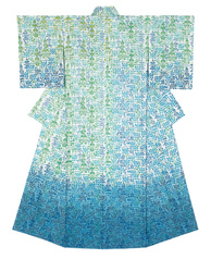 "写真:Kimono with design in stencil resist picture dyeing. ""Prelude of summer"""