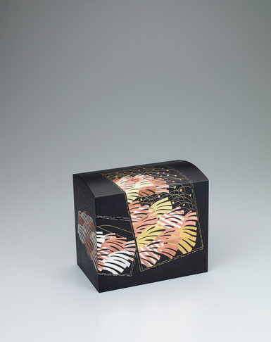 """image Iron box with design in damascene inlay. """"Stormy wind blowing through autumn field"""""""