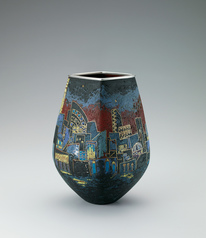"写真:Opaque cloisonne jar. ""City"""