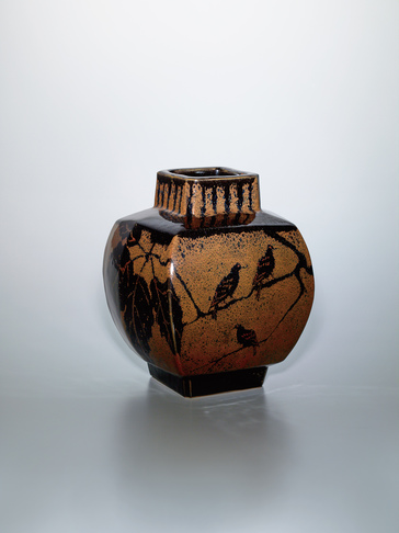 image Square jar with iron glaze and design of bird on a Daimyo oak branch.