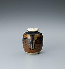 写真:Takatori tea caddy of katatsuki type.