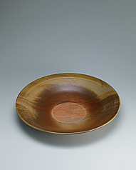 写真:Large dish with marbled glaze.
