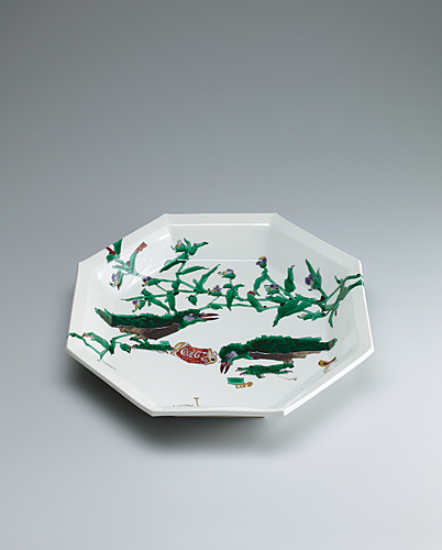 image Octagonal dish with design of roadside crows.