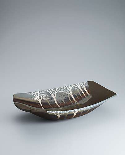 image Bowl with tree design in inlay and colored glaze painting.