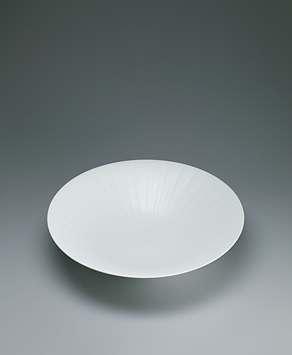 image White porcelain bowl with silky white decoration.