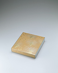 "写真:Box for shikishi with design in chinkin. ""Grass thicket on a moonlit night"""