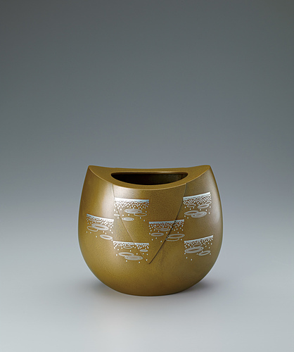 "image Flower vessel with design in inlay. ""Raindrops"""