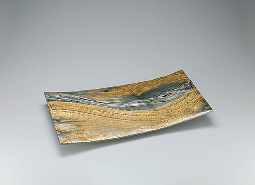 "image Hakudō food vessel cast in cire perdue method with gold decoration. ""Flow"""