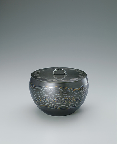"image Tea ceremony fresh water jar of layered metals with inlay. ""Clear stream"""