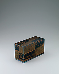 写真:Coffer of black persimmon wood and jindai chestnut wood in mosaic.