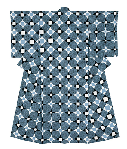 """image Formal kimono with design in yūzen dyeing. """"Topological design of cross-shaped flowers, Deep sea"""""""