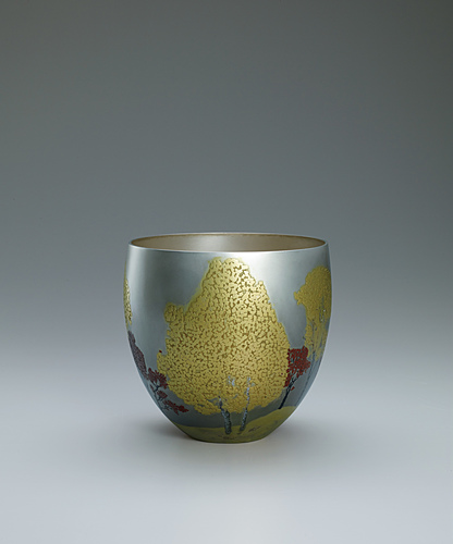"image Flower vessel with design in hammered inlay. ""Autumn colored leaves"""