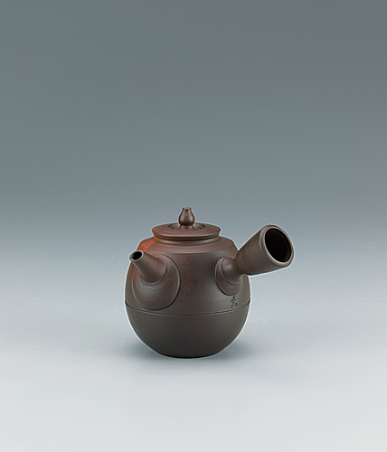 写真:Teapot of katatsuki type with kiln mutation effects.