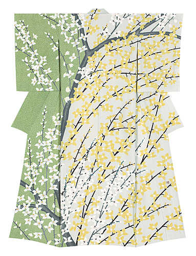 "image Formal kimono with design in yūzen dyeing. ""Tidings of flowers"""