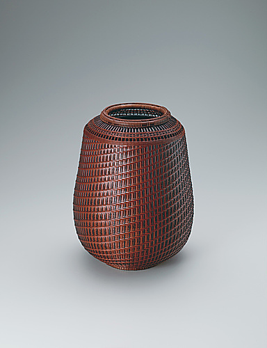 "写真:Flower basket in variegated Ichiraku weave. ""Evening glow"""
